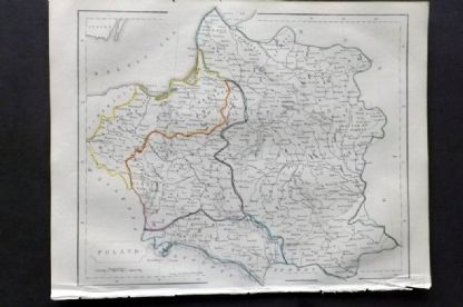 Barclay C1850 Antique Map. Poland